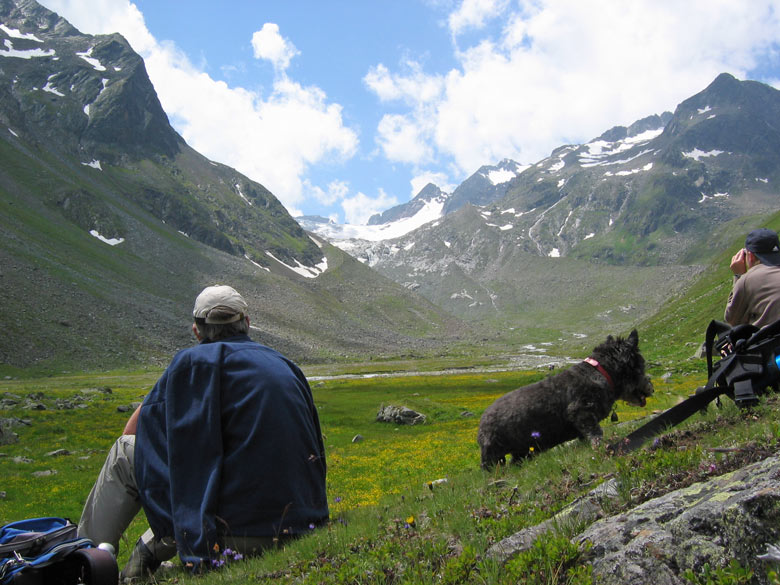 achterin het dal, dicht bij de enorme Alpeiner Ferner gletsjers