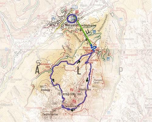 routekaart Elferspitze