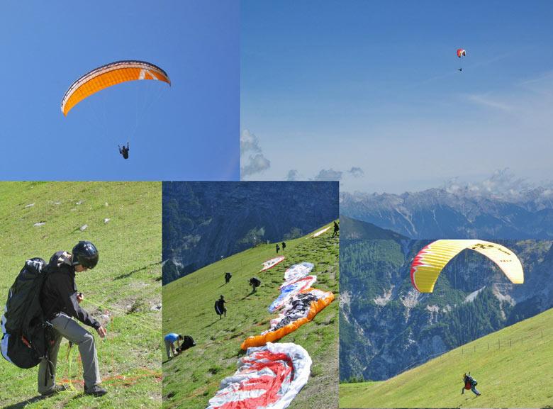 de paragliders zijn al vanaf 's morgens vroeg op de berg