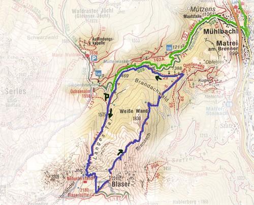 routekaart Blaser wandeling