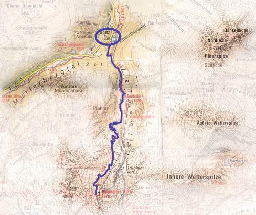 routekaart Nürnbergerhütte