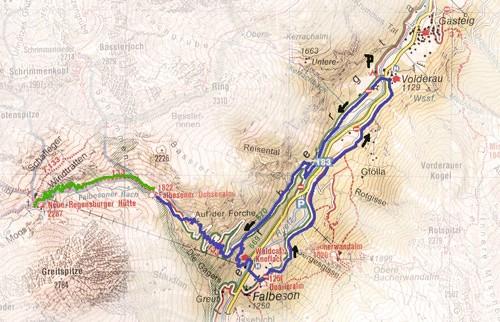 routekaart Ochsenalm