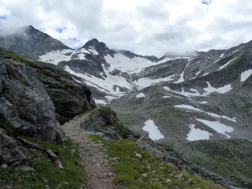 de Goldbergkees gletsjer wordt meer zichtbaar