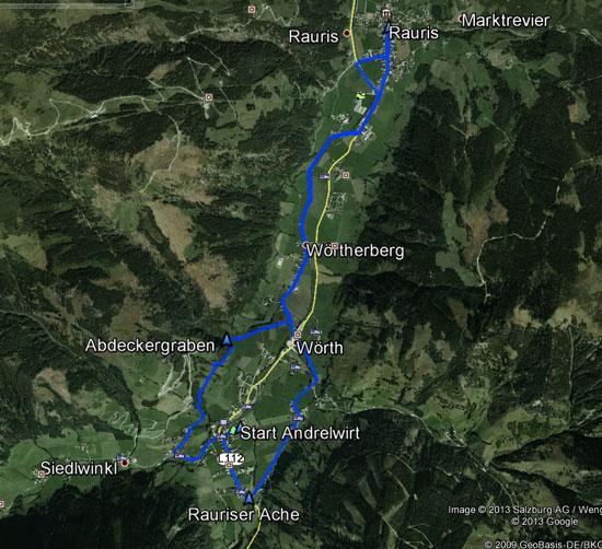 routekaart rondwandeling Wörth Rauris