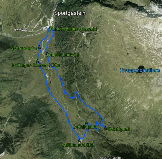 routekaart rondwandeling Sportgastein Nassfeld