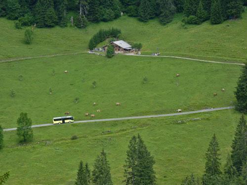 de wandelbus Grosswalsertal rijdt onder ons door het dal