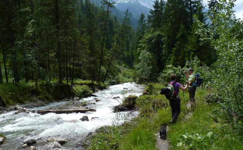 via een smal pad langs de Marulbach gaan we terug richting Marul