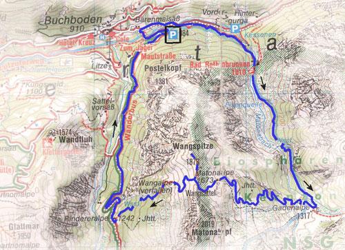 routekaart Buchboden - Wangspitze