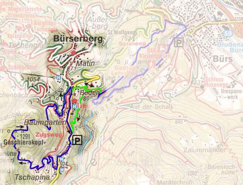 routekaart Schesatobel Murbruch