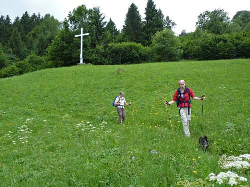 het bospad eindigt op een Alpenwei bij een wit houten Kruis