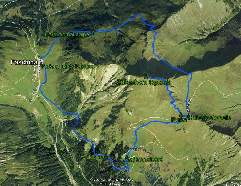 routekaart rondwandeling Zafernhorn