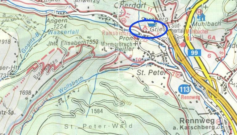 Situatiekaart: De camping ligt in de blauwe cirkel, net buiten Rennweg