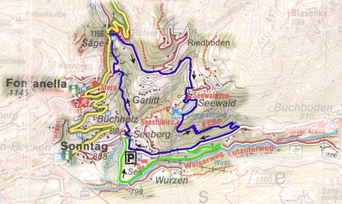 routekaart Seewaldsee