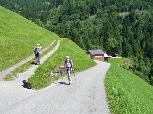 ...rechtsaf over het karrenspoor lopen we onderlangs Fontanella