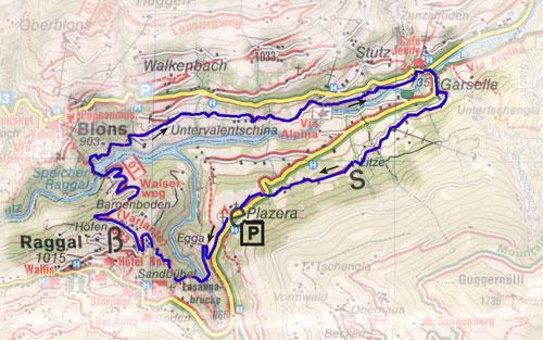 routekaart Grosswalsertal