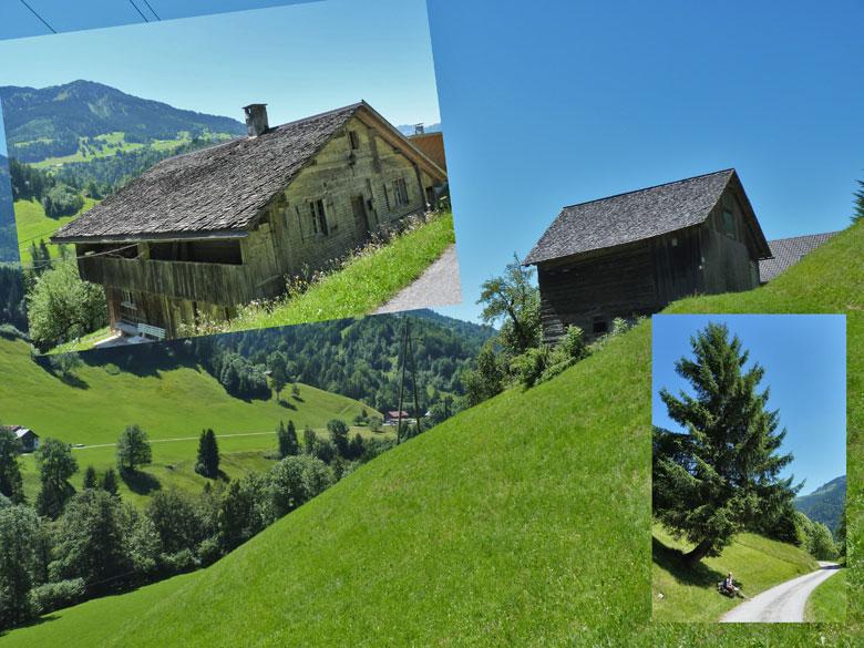 prachtige oude schuren tegen de groene berghellingen
