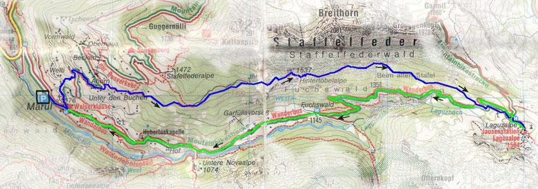 routekaart Marul Laguzalpe