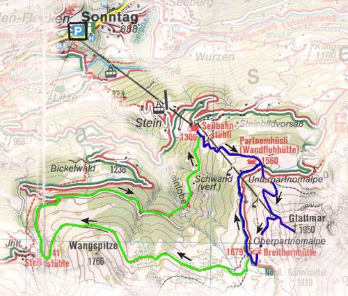 routekaart Sonntag - Glattmar