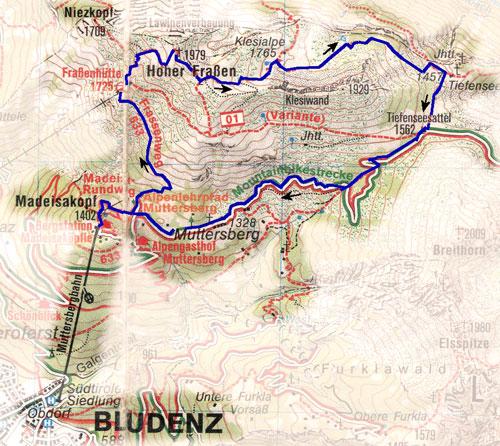 routekaart panoramaweg Hoher Frassen