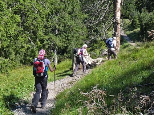 een stevige klim tot aan het eerste rustpunt, de Frassenhütte