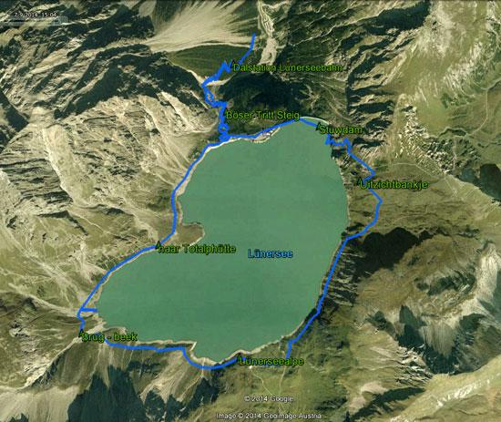 routekaart Lünersee rondwandeling