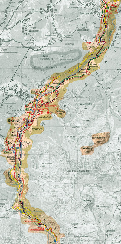 routekaart Brandnertal wandeling