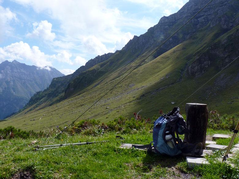 een korte lunchstop onder het Amatschonjoch