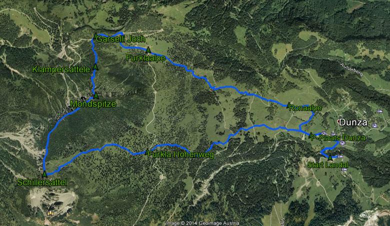 routekaart rondwandeling Tschengla Mondspitze