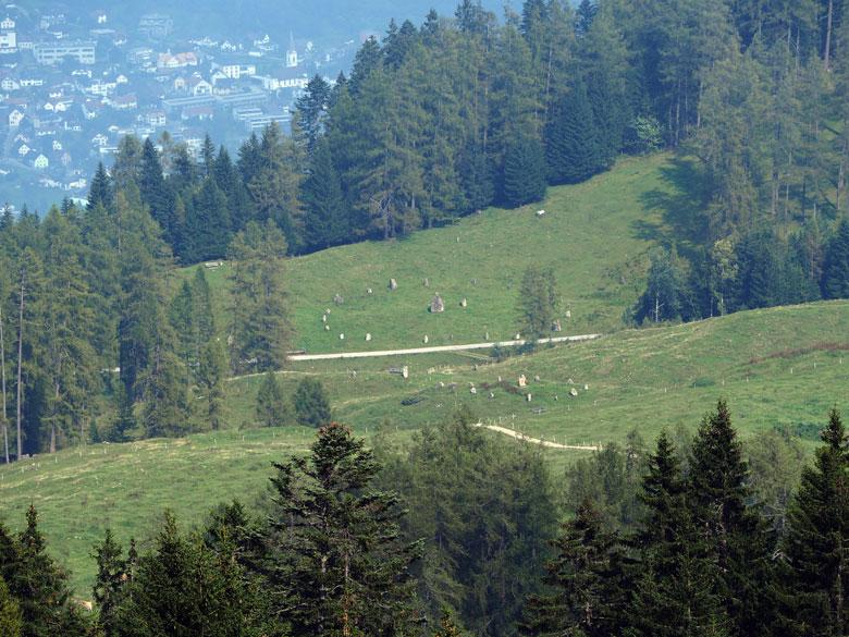 beneden zijn de Steinkreise en daarachter Bludenz te zien