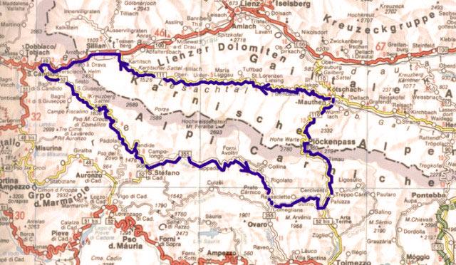 Kaart route Kärnische Alpen