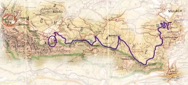 Routekaart Dobratsch en alpenstrasse