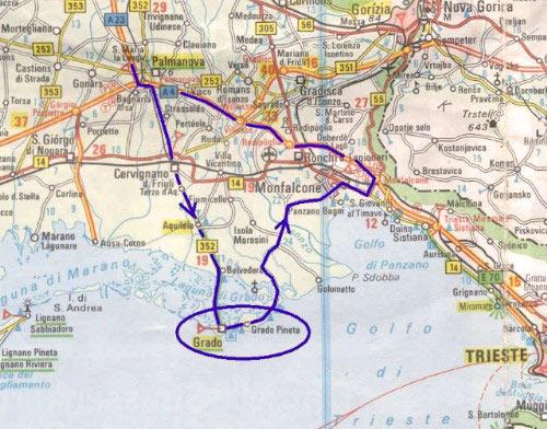 Kaart Italië - Grado