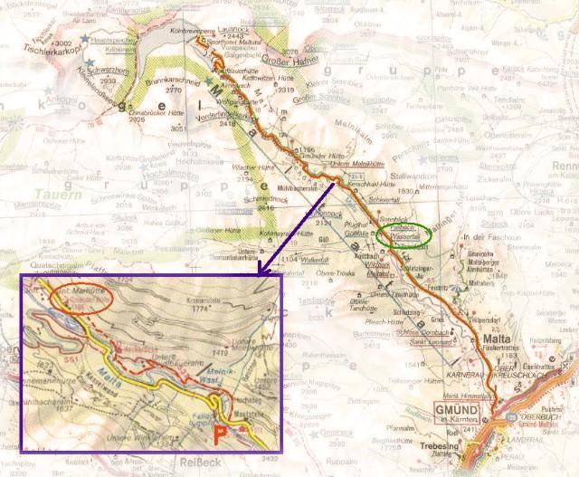 Kaart Maltaltal met inzetkaart wandelroute