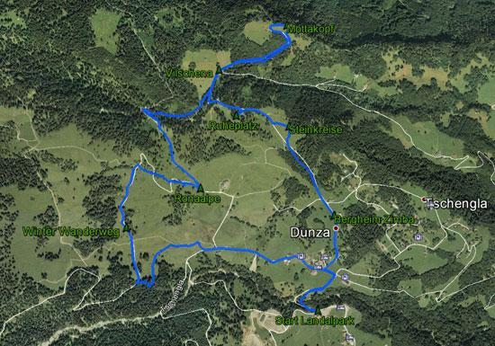 routekaart rondwandeling Steinkreise en Mottakopf