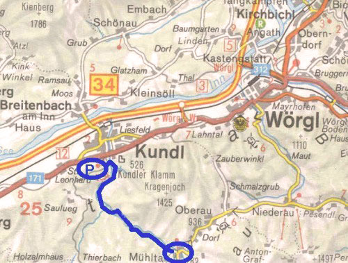 routekaart Kundl Klamm