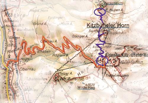 routekaart Kitzbüheler Horn