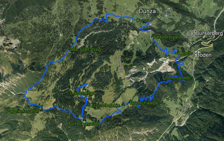 routekaart rondwandeling Brandnertal Loischkopf