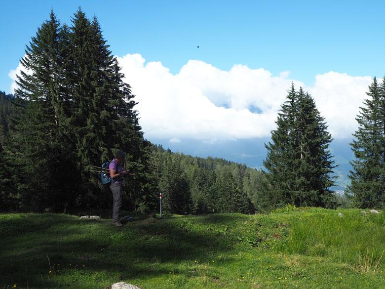 omlaag naar het Tschengla plateau