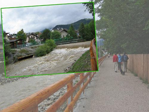 wandelpad langs het water naar Bruneck centrum