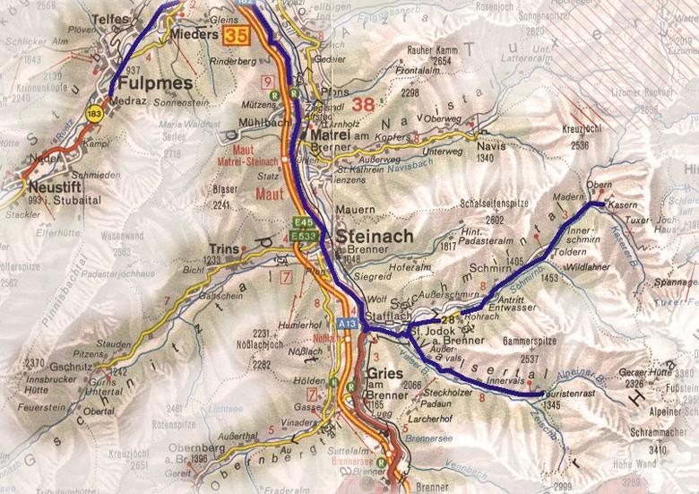 kaart Wipptal, Schmirntal en Valsertal