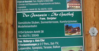 informatiebord Gasthof Jenewein