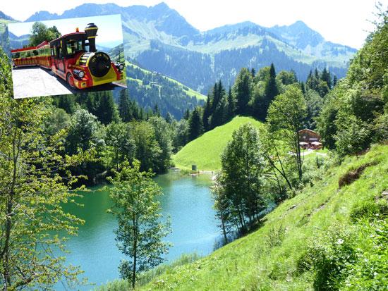 vanuit Säge gaat een toeristentreintje naar de romantische Seewaldsee