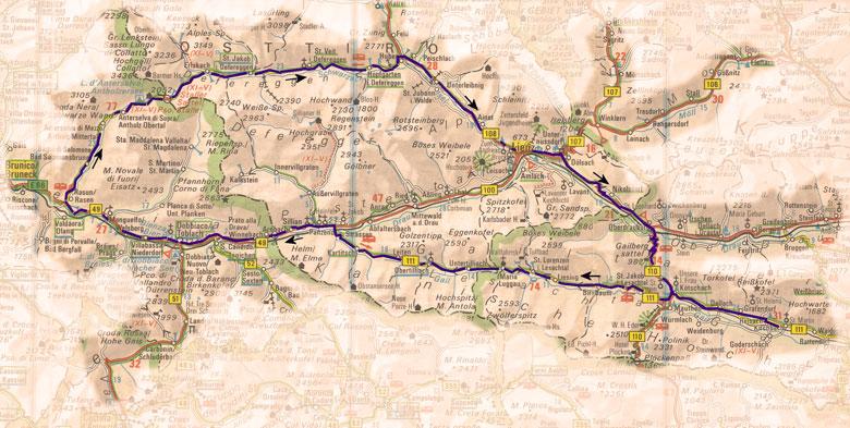 routekaart rondrint Lesachtal en Staller Sattel