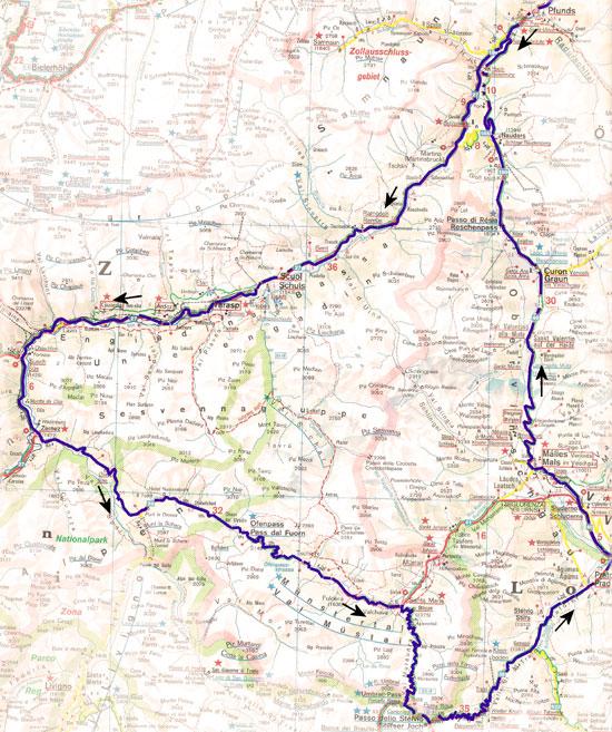 routekaart vier passenrondrit
