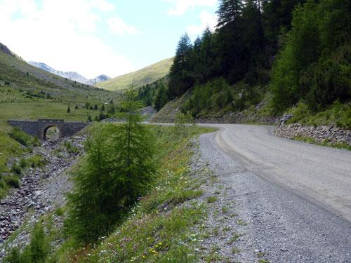 op weg naar de Umbrail Pass een gedeelte sintelweg