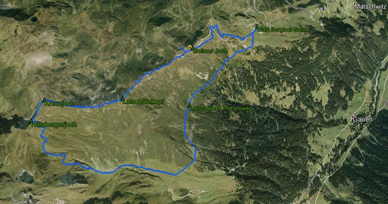 routekaart rondwandeling Tschagguns Montafontal Kreuzjoch