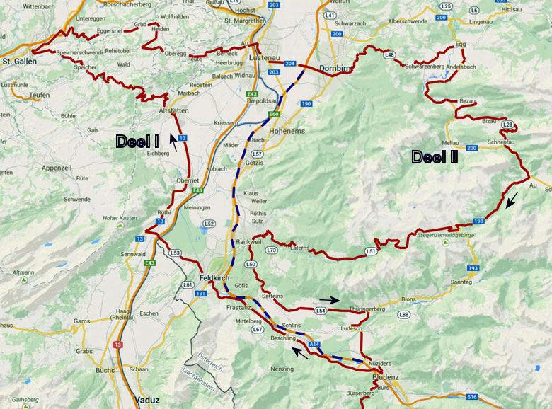 routekaart rondrit Vorarlberg Zwitserland deel I