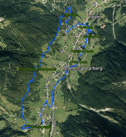 routekaart rondwandeling Brand Brandnertal