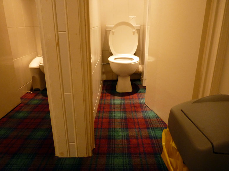 geruite vloerbedekking tot op het toilet