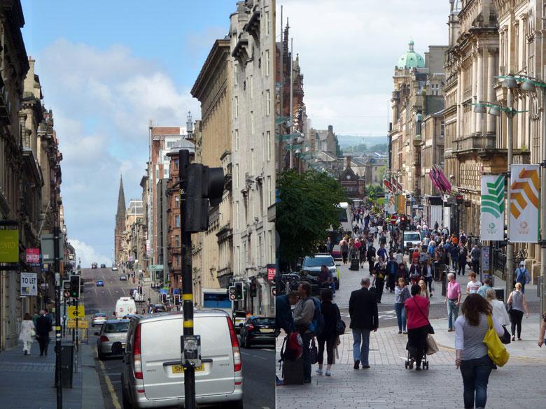 zaterdag rond de middag wordt het plots druk in het centrum van Glasgow
